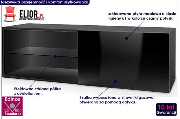Lakierowana czarna wisząca szafka RTV Vomes 5X