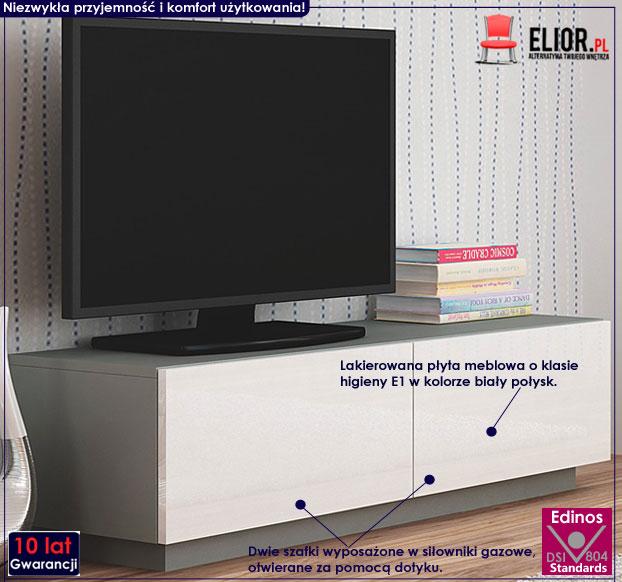 Lakierowana stojąca szafka pod telewizor biało-szara Vomes 6X