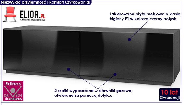 Lakierowana czarna szafka pod telewizor Vomes 6X
