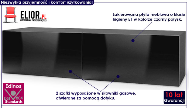 Czarna lakierowana szafka na telewizor Vomes 7X
