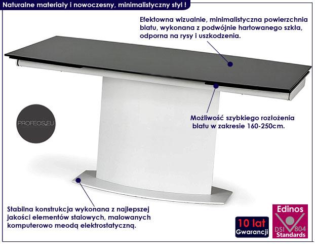 stół rozkładany biało czarny ze szkła