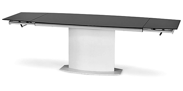 stół biało czarny szklany w wersji rozłożonej