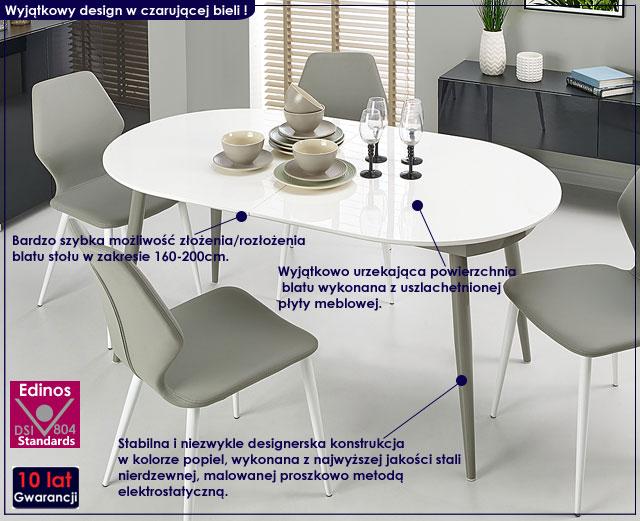 stół popielaty biały Darnis