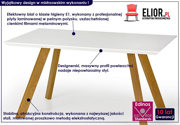 stół dorin 150x90 - biały, dąb sonoma