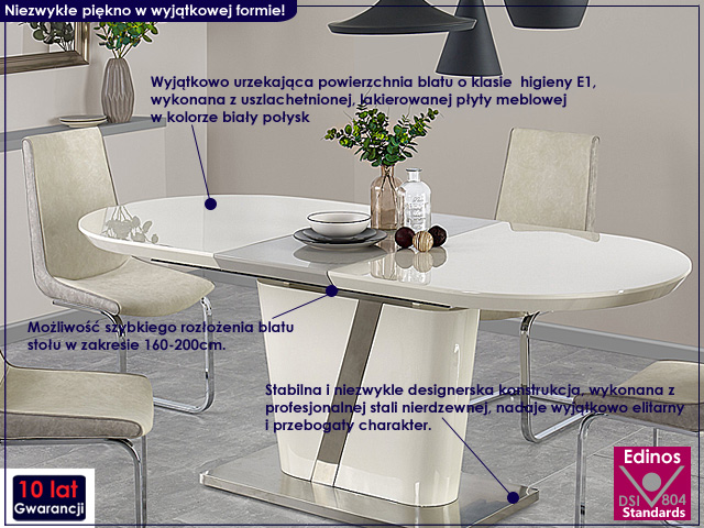 stół rozkładany biały połysk, popielaty.