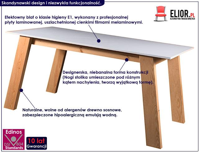 stół priostokątny 160x80 styl skandynawski