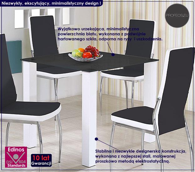 stół biało czarny ze szkła kwadratowy