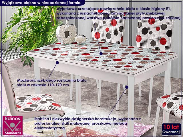 stół noris biały w kropki kolorowe.