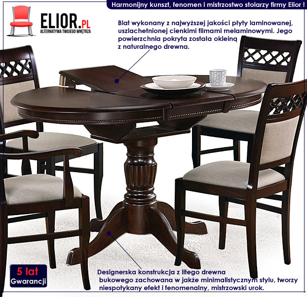 Okrągły stół rozkładany Pixer