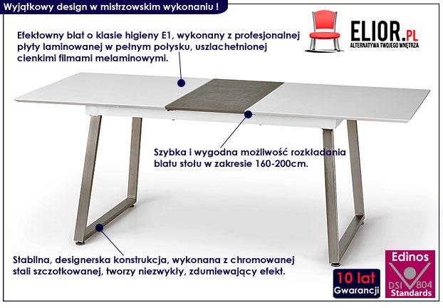 stół biały beton rozkładany Rimon