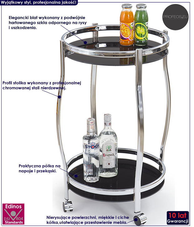 Czarny okrągły stolik na kółkach na alkohol Alvor