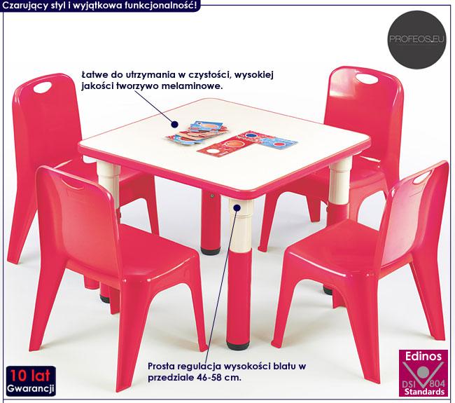 Kwadratowy, czerwony stolik do pokoju dziecka Hipper