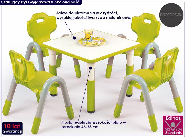 Regulowany, zielony stolik do pokoju dziecięcego Hipper