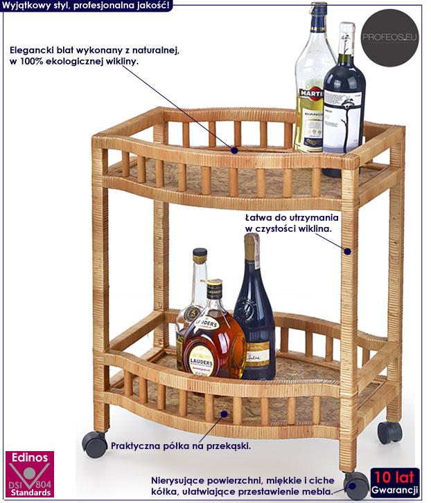 Stolik barowy z wikliny na kółkach Ifiks