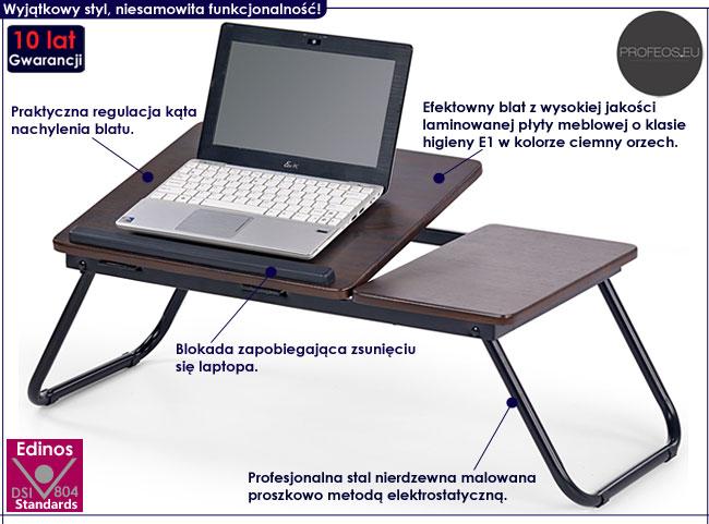 Regulowany stolik pod laptopa, podstawka ciemny orzech Lavix