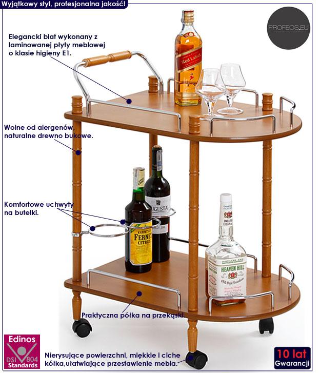 Drewniany stolik barowy na kółkach Lifton