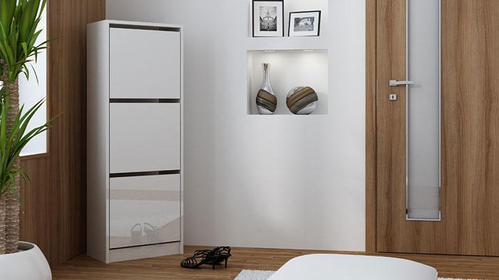 Skandynawska biała szafka na obuwie Forgi 3X