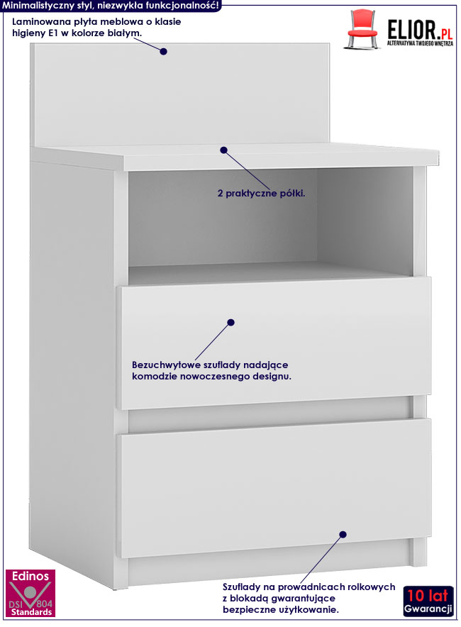 Biała szafka nocna Irina