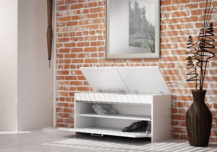Biała szafka na buty z 2 półkami Leni 3X