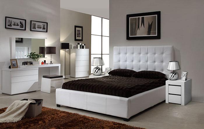 Biały stolik nocny do łóżka Naria 2X