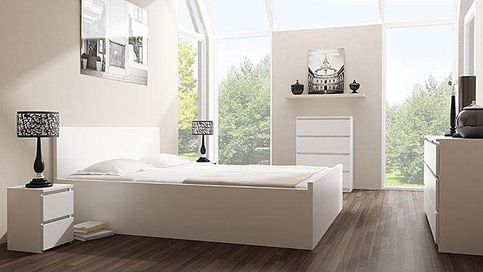 Nowoczesny biały stolik nocny do łóżka Siena