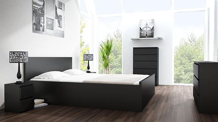 Czarny stolik nocny do sypialni Siena 2X