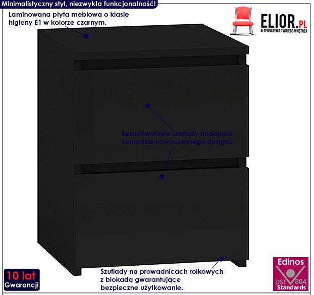Czarna minimalistyczna szafka nocna Siena 2X
