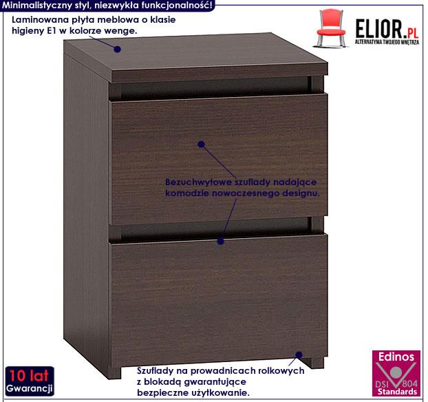 Minimalistyczna szafka nocna wenge Siena 2X