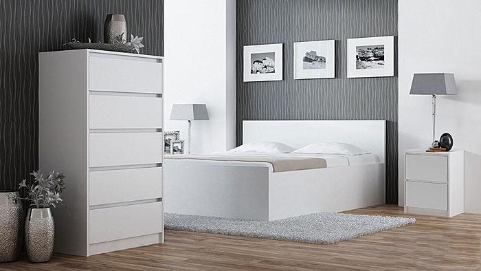 Biały stolik nocny do sypialni Siena 3X
