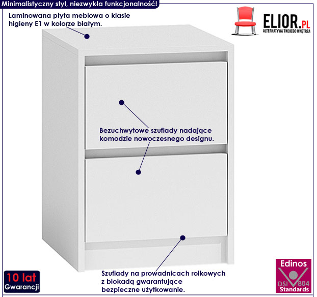 Biała szafka nocna z 2 szufladami Siena 3X