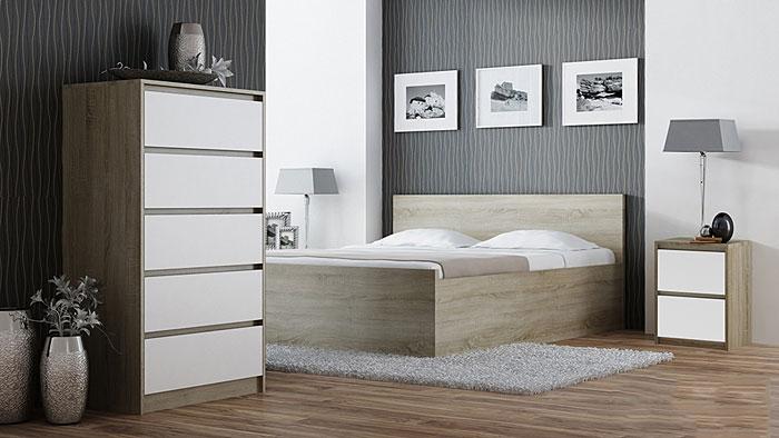 Nocny stolik do łóżka biały, dąb sonoma Siena 3X