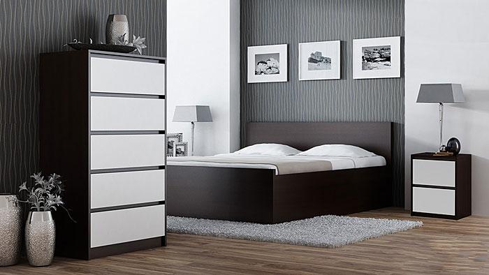 Stolik nocny z szufladami biały, wenge Siena 3X