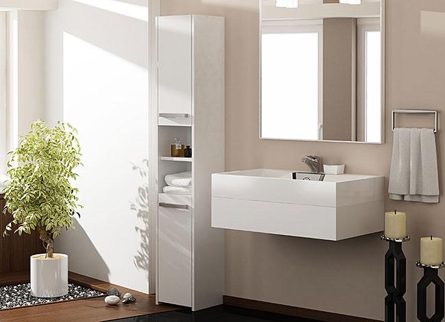 Biała szafka łazienkowa z 6 półkami Tosca 2X
