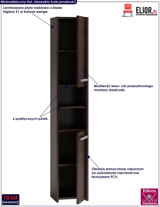 Szafka do łazienki z 6 półkami wenge Tosca 2X