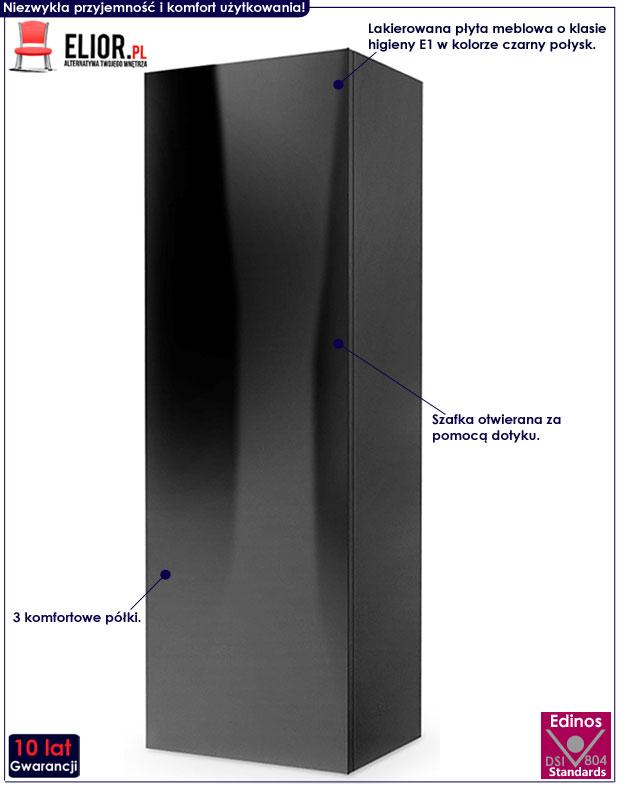 Czarna szafka wisząca z półkami Vomes 8X
