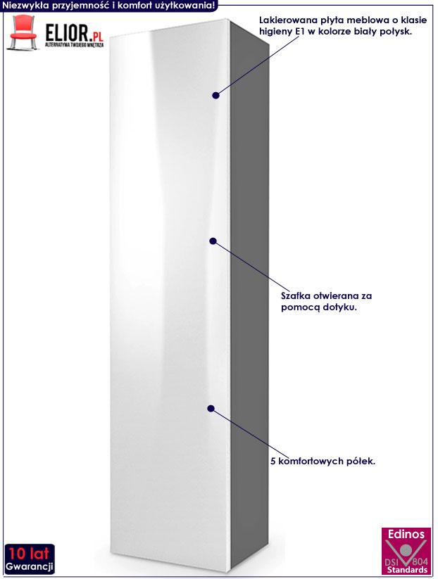 Duża szafka wisząca wysoki połysk biało-szara Vomes 9X