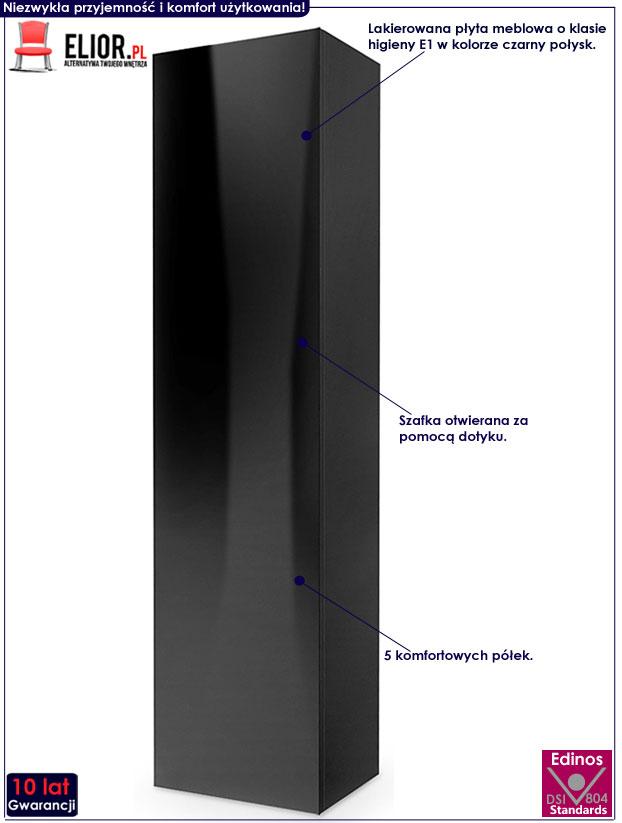 Czarna szafka wisząca lakierowana 180 cm Vomes 9X