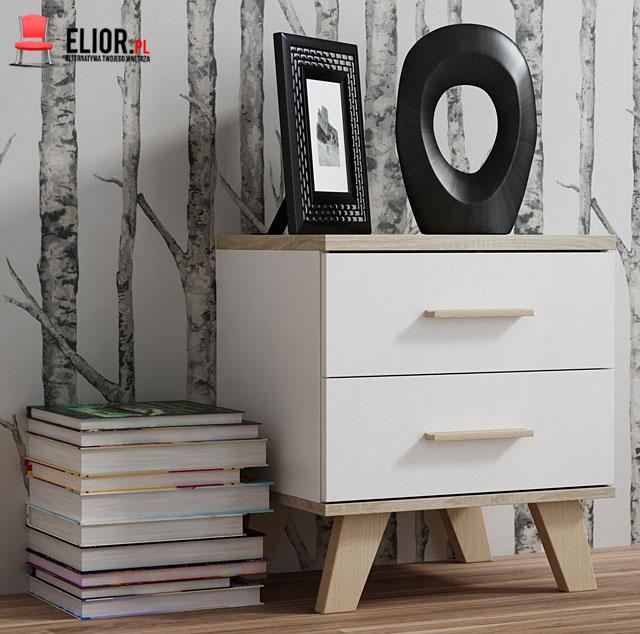 Minimalistyczna szafka do sypialni, biała dąb sonoma Lefis 7X