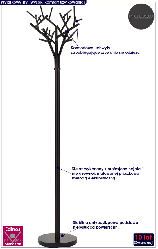 Czarny wieszak stojący w kształcie drzewka Arlen 11X