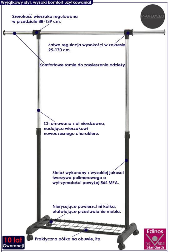Podłogowy wieszak stojący na kółkach Fresko 3X