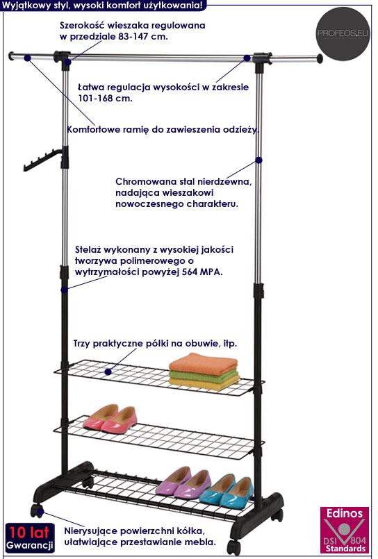 Regulowany wieszak podłogowy z półkami Fresko 6X